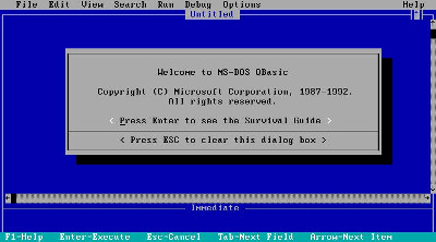 Old QBasic Home Screen